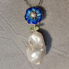 Baroque pearls pendant,size 46 x 15 mm, necklace (2)