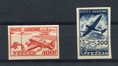 Fezzan - 1948 - Air mail with no perforations - Sassone n. A1/2