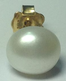Single gold earring with a cultured pearl