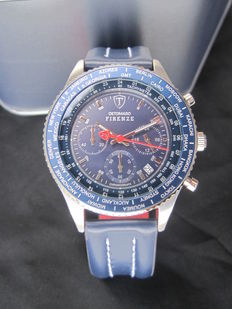 DETOMASO Firenze - Mens Watch - Chronograph - Stainless Steel - Blue Leather Strap - 10 ATM - New