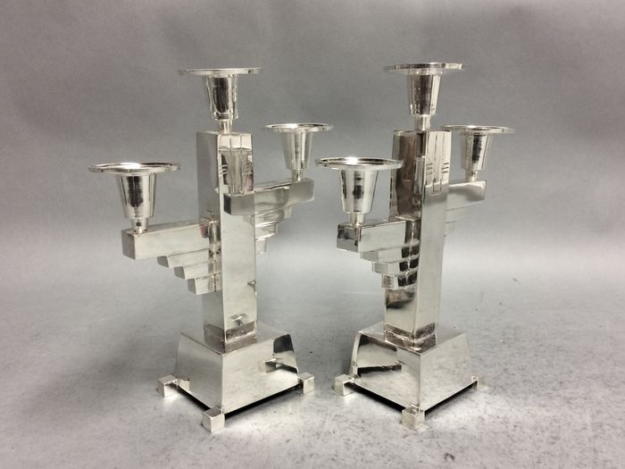 Set of sleek candle stands in Art Deco style - 21st century 19/3