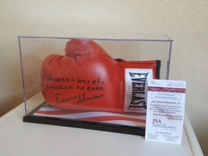 """Earnest Shavers - hand-signed boxing glove with famous """"Muhammad Ali Quote"""" including new display case + JSA COA."""