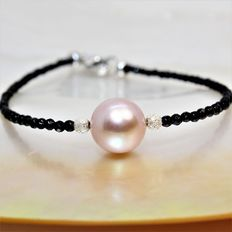 925 silver bracelet with fine faceted onyx stones and freshwater lavender pearl Ø 10-11 mm