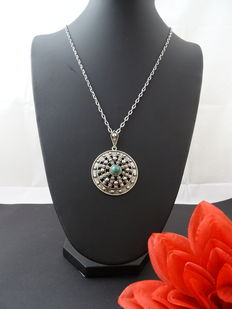 Silver 835 necklace and pendant with aventurine stone