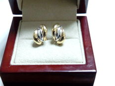 White and yellow gold (18 kt) ladies' earrings