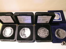 The Netherlands - 50 gulden (guilder) 1984, 1990, 1991 and 1994 (4 different ones) - silver