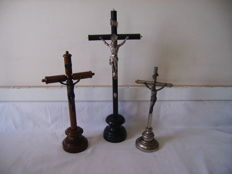 lot of 3 crucifix for altar / France / 1890 to 1950/