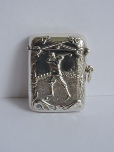 Silver vesta case with golfer, 1950
