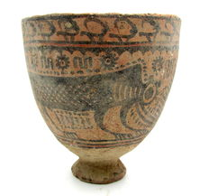 Indus Valley Painted Terracotta Bowl with Monkey Motif - D 100 mm x H 105mm