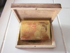 Card deck in wooden box, gold plated cards