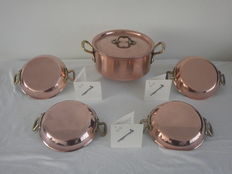 Top brand - copper COOK - Belgium - professional copper / stainless steel pan with lid - and 4 copper / stainless steel oven scales / sauce scales - 2.8 kilos