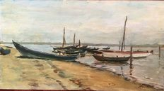 Unknown artist (20th century, signed: Marafa)-port of Falconera in Caorle with boats