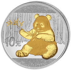 China - 1 x 10 Yuan - China Panda 2017-999 silver with 24 k gold finish