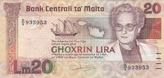 Malta - 20 Lira - Year 1986 - Agatha Barbara -  Pick 40