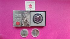 Canada - 1 Dollar 2003 'Discovery at Cobalt', 5 Dollars 2012 'Cougar' & 2013 'Wood Bison' (lot of 3 coins) - Silver