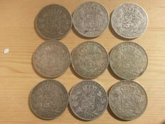 Belgium - Lot of 9 coins: 5 francs 1868, 1869, 1873 and 1876 Leopold II - silver.