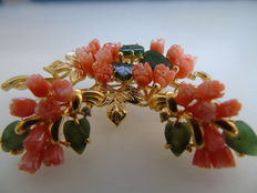 Set of brooch and earrings with genuine coral, jade and Swarovski crystals, Swoboda style