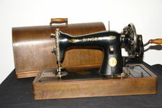 Hand sewing machine Singer 15K, with wooden case, 1948
