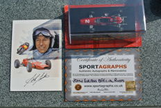 John Surtees hand-signed card with COA, and scale model 1:43 of a Ferrari