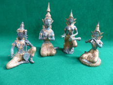 Brass figurines, 4tlg - Thailand - second half of the 20th century