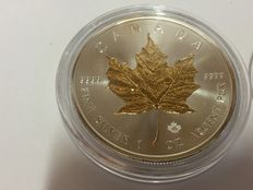 Canada - 5 CAD maple leaf 2016 - with 24-carat gold Edition - 999.9 silver