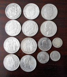 Europe – Lot of 14 coins (France, Italy, Spain, Switzerland), 1831-1932 – Silver
