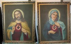 Two unsigned religious painting (icon) early 20th - The Most Sacred Heart of Jesus and The Immaculate Heart of Mary