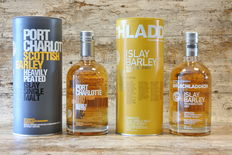 Bruichladdich Islay Barley Rockside Farm 2007 & Port Charlotte Scottish Barley Heavily Peated - in original tins - 2 Bottles