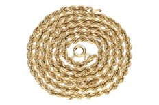 Yellow gold rope link necklace in 14 kt