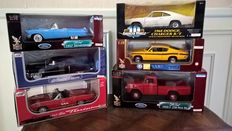 American Muscle / Anson / Road Signature - Scale 1/18 - Lot with 6 models: 3 x Ford, 1 x Cadillac & 2 x Plymouth