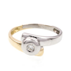 Two-tone yellow and white gold ring set with a brilliant cut set diamond - Ring size: 16 (SP)