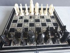 Egyptian chess / backgammon set inlaid with mother of pearl and bone
