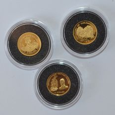 Fiji - US $10, 1998, 2002, 2003, (three coins) - 1/25 oz gold.