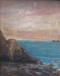 Unknown artist (20th-century, signed E. Cecconi) - Scogliera (Cliff)