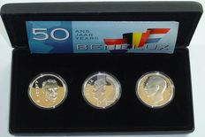Benelux – Benelux set with 250 francs 1994 (2x) + 10 guilder 1994 (3 pieces in total) in set – silver
