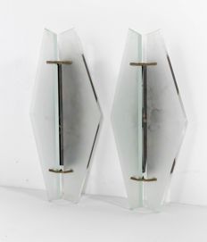 Max Ingrand for Fontana Arte - Rare Pair Wall Lights, Model No 1937