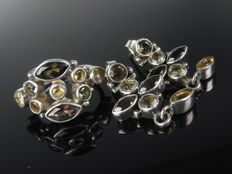 Silver set - sterling ring and earrings with smoky quartz and lemon quartz