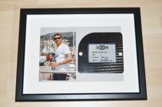 3D framed picture of a Red Bull Racing Scrutineer Pass on a original F1 carbon fibre car part, signed by David Coulthard