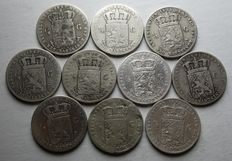 Netherlands – ½ guilder coins 1847/1868 William II and III (10 different ones) – silver