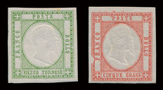 Neapolitan Provinces, 1861, 2 stamps half Tornese - Sassone no. 17 and 5 Grana, red carmine Sassone no. 21 with variety
