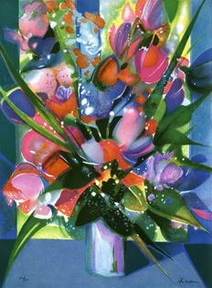 Camille Hilaire - the big blue bouquet (Le grand bouquet bleu)