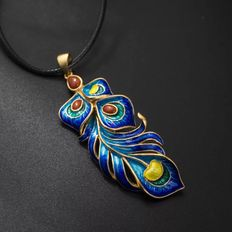 Enamelled feather Pendant