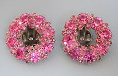 Signed ALBERT WEISS - Wreath Pink Rhinestone Clip on Earrings - 1950s
