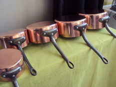Set of 5 tin plated copper pans, rare professional set, 20th century, HAVARD FRANCE, new