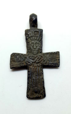 Bronze cruciform reliquary (double cross) pendant with pseudo depiction of Christ - 39x22 mm