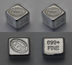USA - Yeagers Poured Silver - 2 x 1oz 999 fine silver silver bar cube/ silver cube - cast