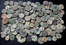 Roman Empire - Lot of 130 AE coins (different emperors)