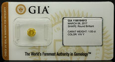 1.00 ct GIA Fancy Vivid Yellow Diamond – NO RESERVE