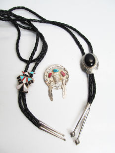 Vintage 2 Native American sterling silver Navajo and Zuni Bolo ties and a hat clip/pendant clip/bolo clip sterling silver mandela.