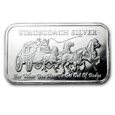 United States - 2 piece 999 silver bullion of a Stagecoach silver stagecoach - divisible in 8 x 1/4 oz
